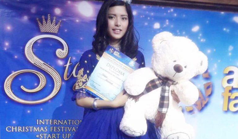 """Rakshya Thapa wins the Title of """"Young Princess of the Universe 2017"""" in Russia."""